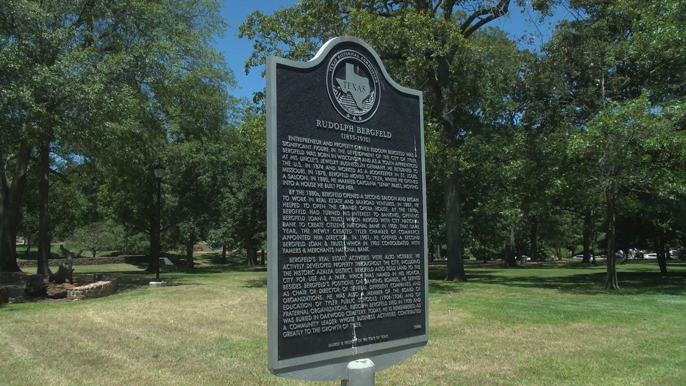 The Rudolph Bergfeld historical marker is located in Bergfeld Park off of Broadway Avenue in...