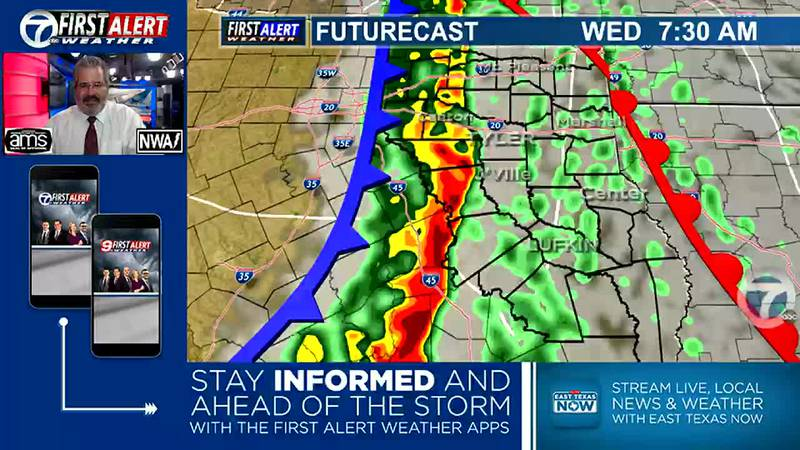 A Line of Thunderstorms is expected to move through ETX in the Morning. First Alert Weather Day...
