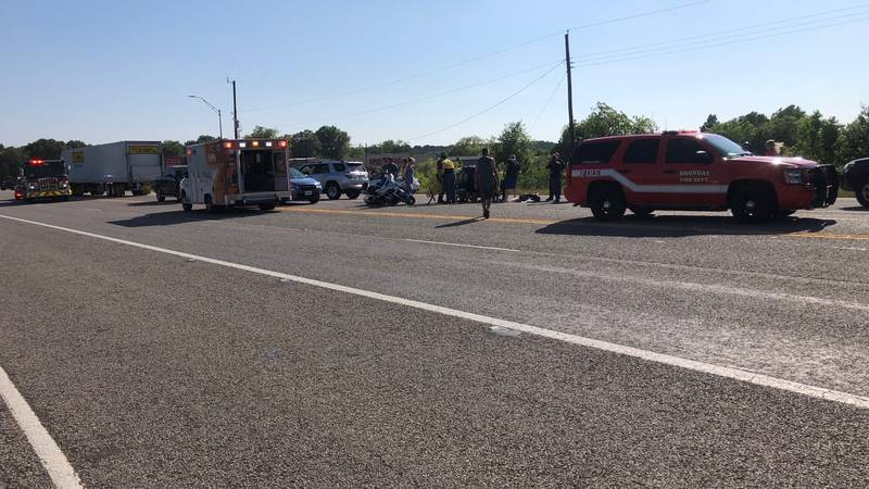 Crews are on the scene of a motorcycle crash on Highway 155.