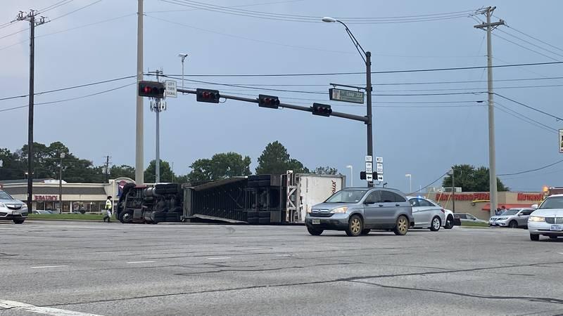 TRAFFIC ALERT: Semi-truck overturns at ESE Loop 323 at Troup Hwy in Tyler