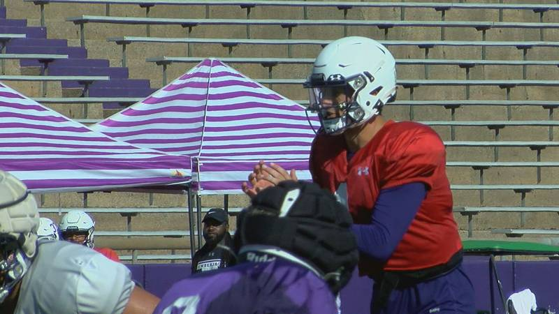 Trae Self lines up at a recent SFA practice (KTRE)