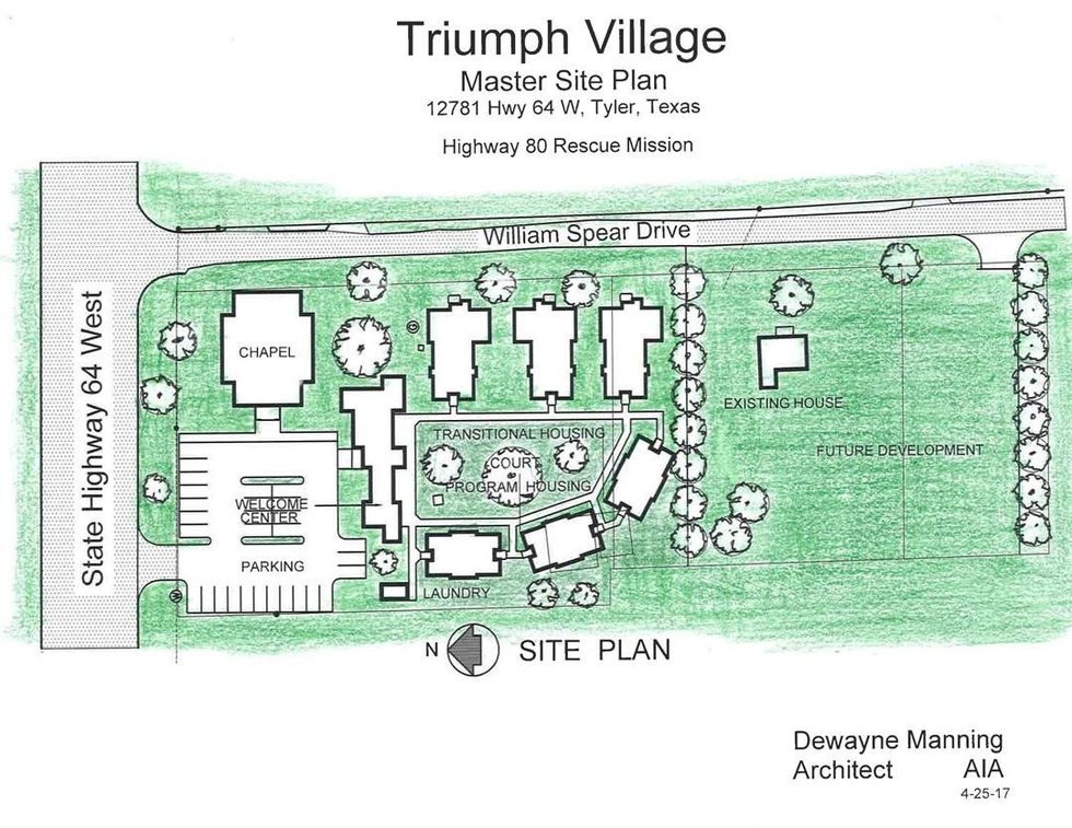 A site plan for Highway 80's planned Triumph Village transitional housing, located on Texas 64...