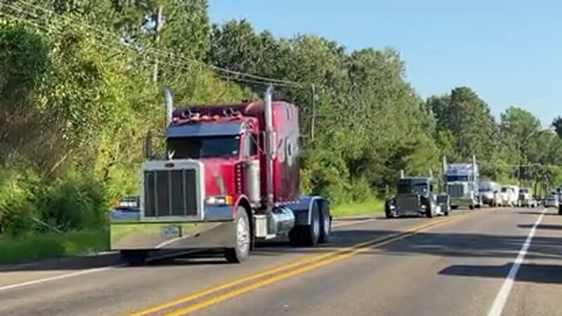 Trucks line Lufkin street in tribute to Legend Williamson