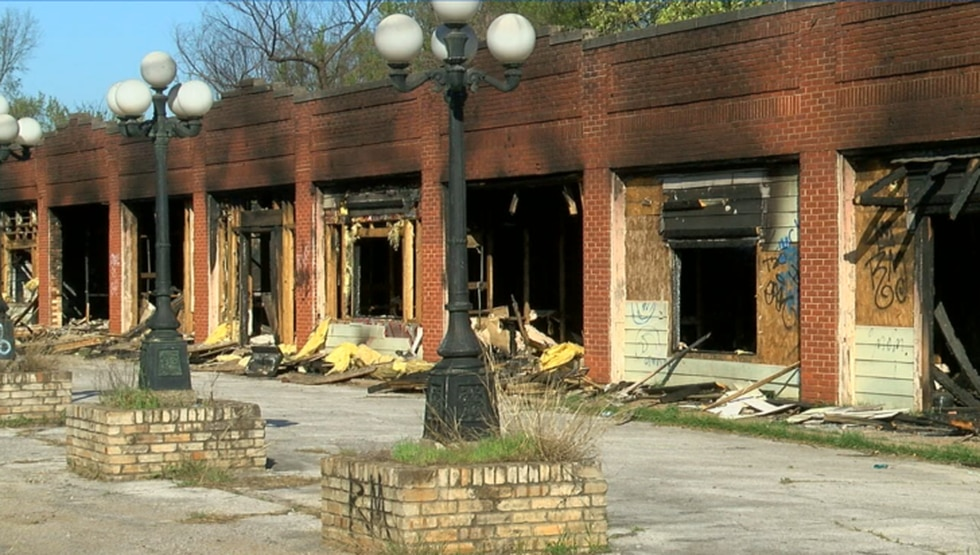 The aftermath of a fire that burned an abandoned strip mall in Tyler.