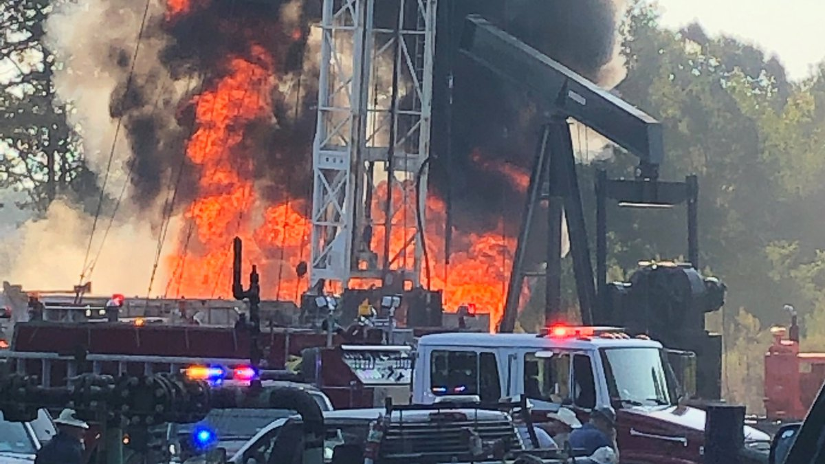 Two people were hospitalized after a tanker caught on fire at a petroleum site in Henderson...