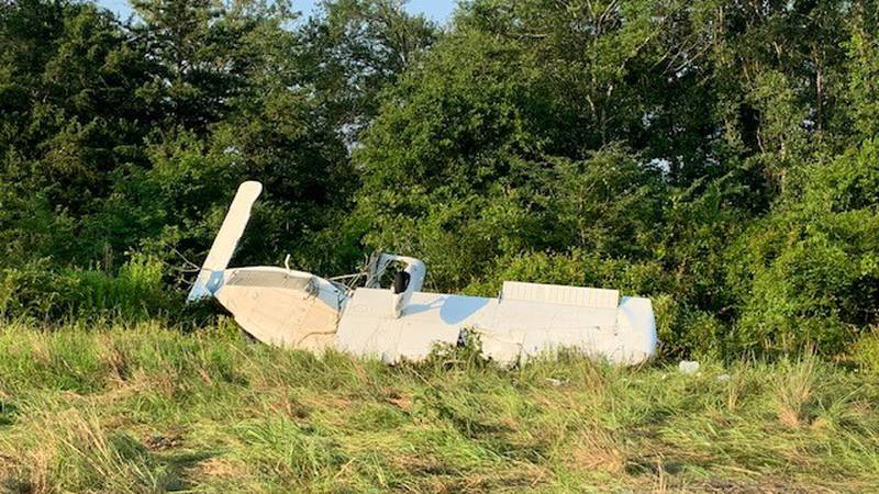 Photo from Texas Department of Public Safety of a single-engine plane crash at the Madisonville...