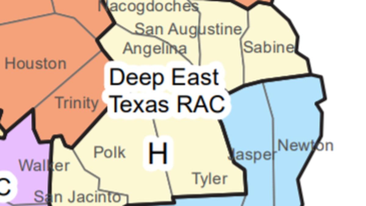 Counties in the Deep East Texas TSA include Angelina, Nacogdoches, Polk, Sabine, San Augustine,...