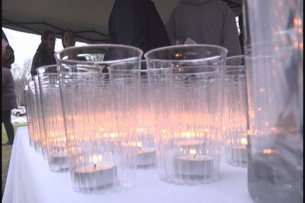 Source: KLTV Staff- Candlelight vigil for Ty Underwood.
