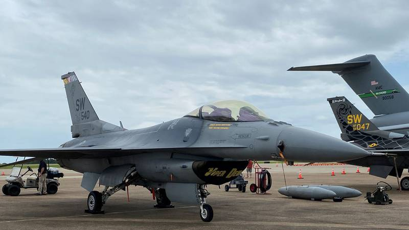 Pictured is one of the U.S. Air Force F-16 Falcon fighter jets that took part in the Rose City...