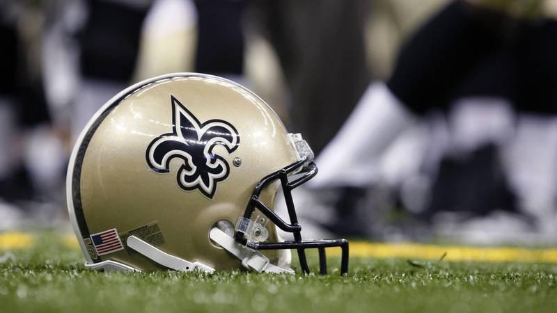 New Orleans Saints logo on a helmet before the first half of an NFL preseason football game at...