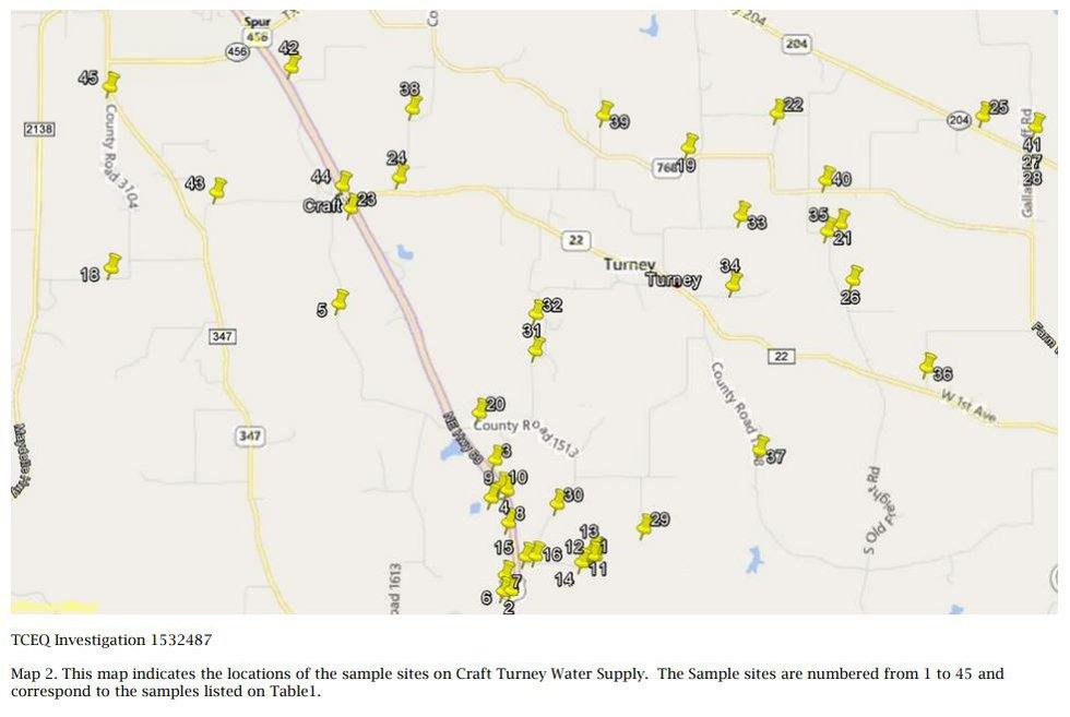 TCEQ -Craft Turney test sites (source: TCEQ)