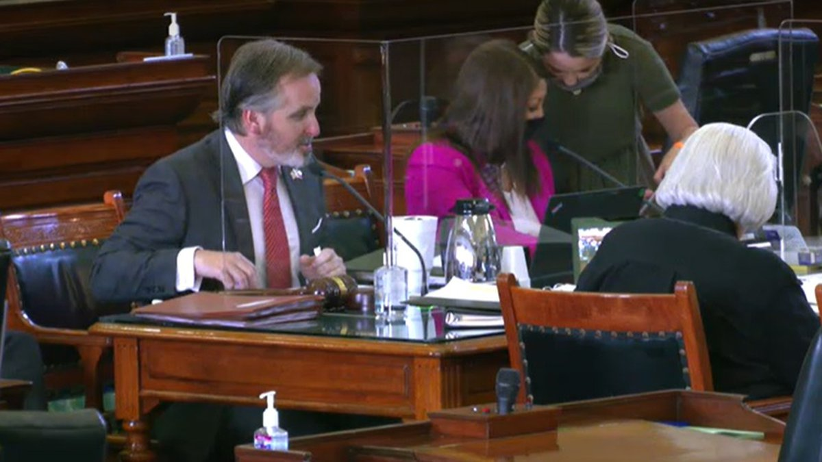 Tx Sen. Bryan Hughes seen in the senate committee session as SB12 was approved for a full...