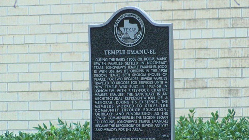 Pictured is the historical marker for Temple Emanu-El in Longview. (Source: KLTV Staff)