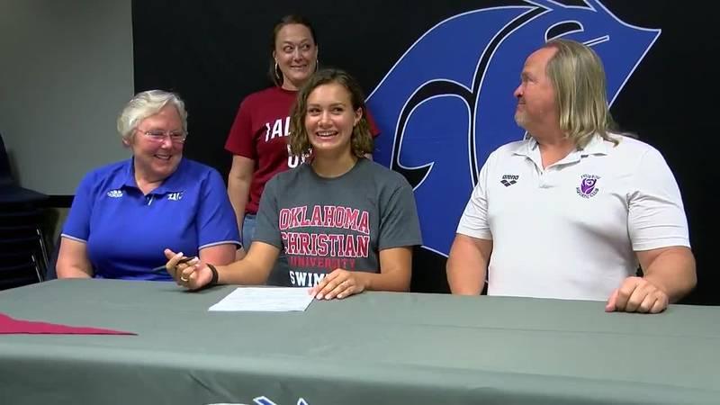 Grace Community School senior Talia Thompson has signed on to swim for Oklahoma Christian...