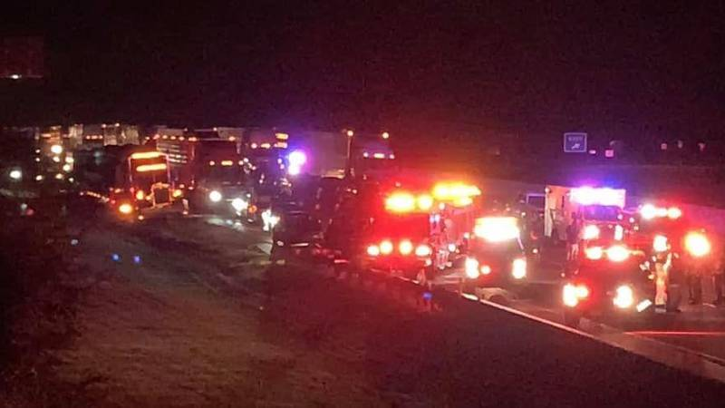 One lane of Interstate 20 in eastern Smith County is closed as crew work to clean up after an...