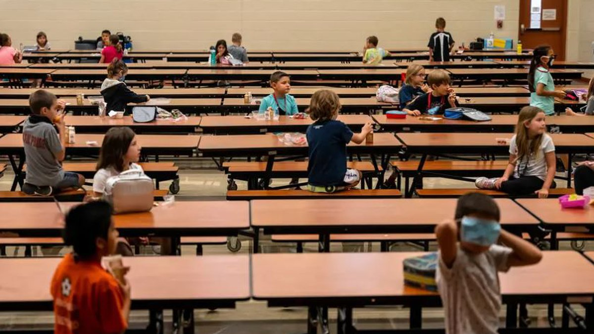 Students are socially distanced in the lunchroom at Jacob's Well Elementary School in Wimberley.
