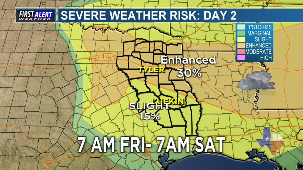 Another strong storm system is headed toward East Texas and an Enhanced Risk for severe storms...