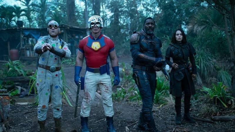 From left: Polka Dot Man (David Dastmalchian), Peacemaker (John Cena), Bloodsport (Idris Elba)...