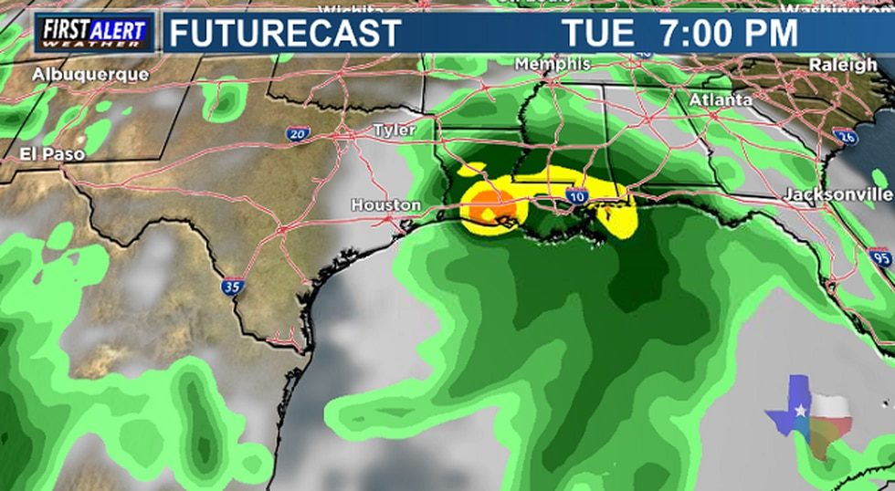 The GFS Model showing Invest 99-L Tuesday evening.