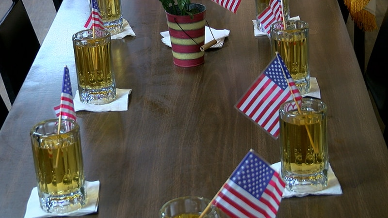 American Legion Post of 12 put out 13 drinks with American flags in them to honor the 13...