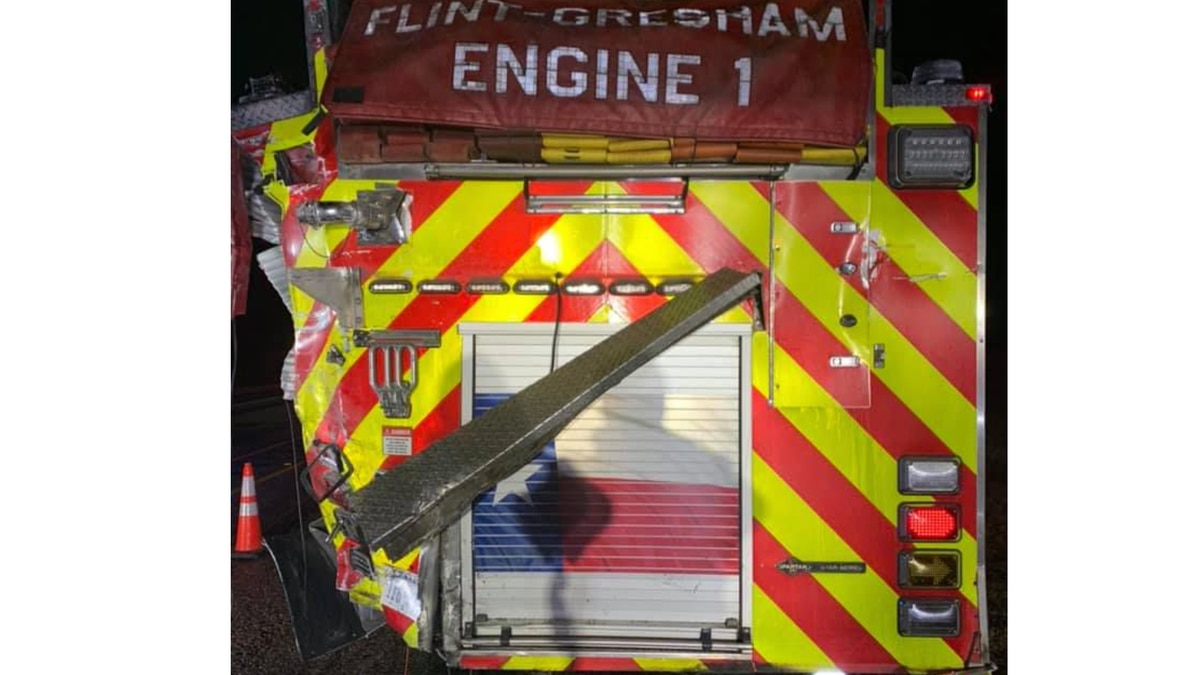 A Flint-Gresham Fire Department was rear-ended by an 18-wheeler on Toll 49 Thursday, according...