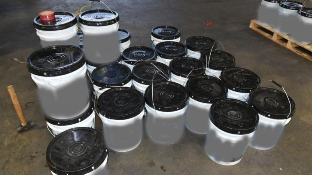 Containers filled with 1,234 pounds of  methamphetamine seized by CBP officers at World Trade...