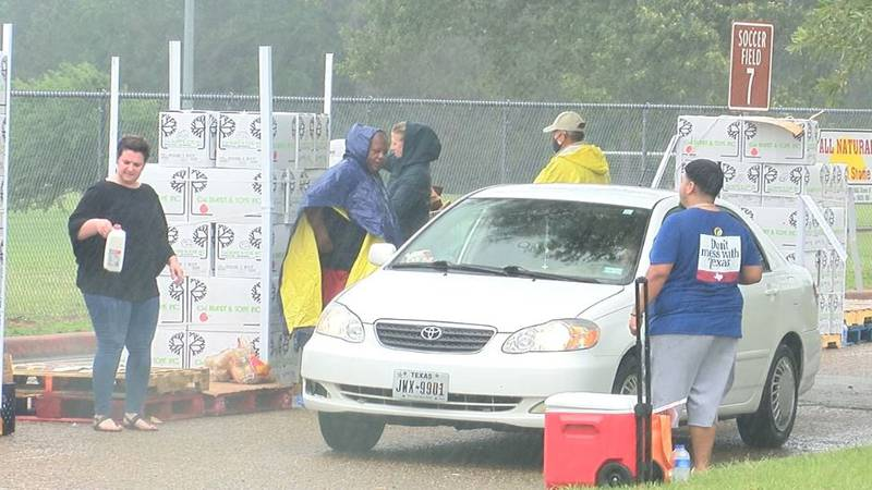 The rain didn't hinder the East Texas Food Bank from distributing food to those in need at...