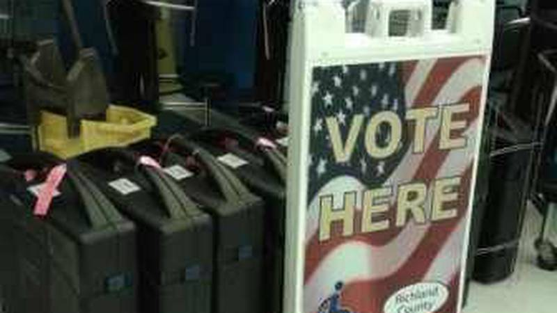 Voting machines at polling station