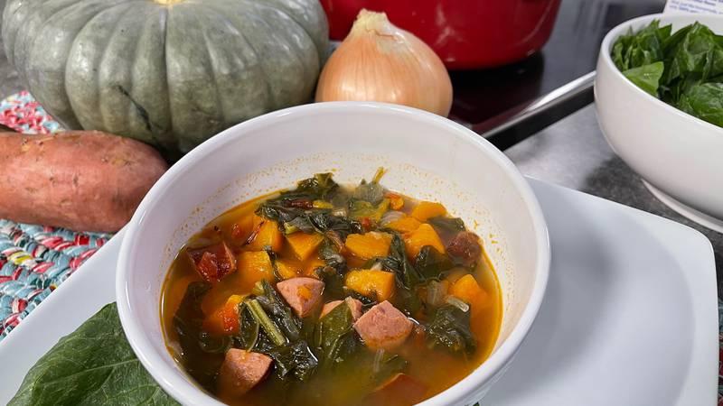Sweet potato-sausage soup by Mama Steph