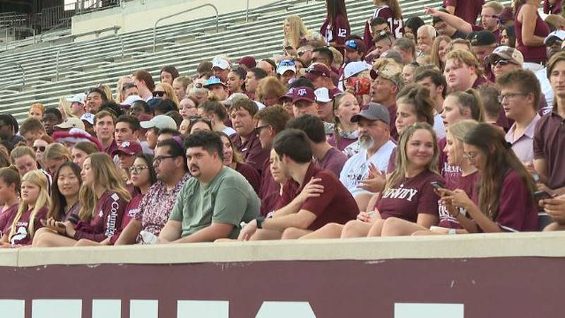 Aggie fans gather at Kyle Field for a chance to be a part of a new Texas A&M football commercial.