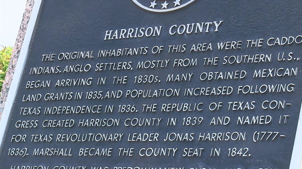 Historical marker in Downtown Marshall.