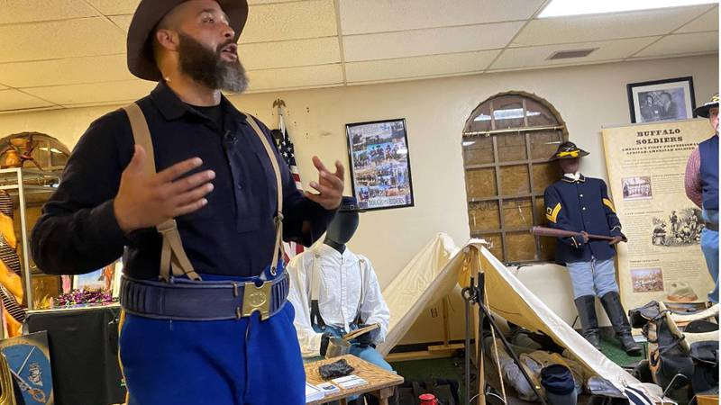 Luis Padillo gives a presentation about the buffalo soldiers at the Texas African-American...