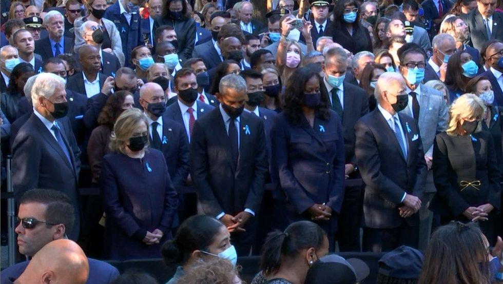 Bill Clinton, Hilary Clinton, Barack Obama and Michelle Obama join President Joe Biden and...