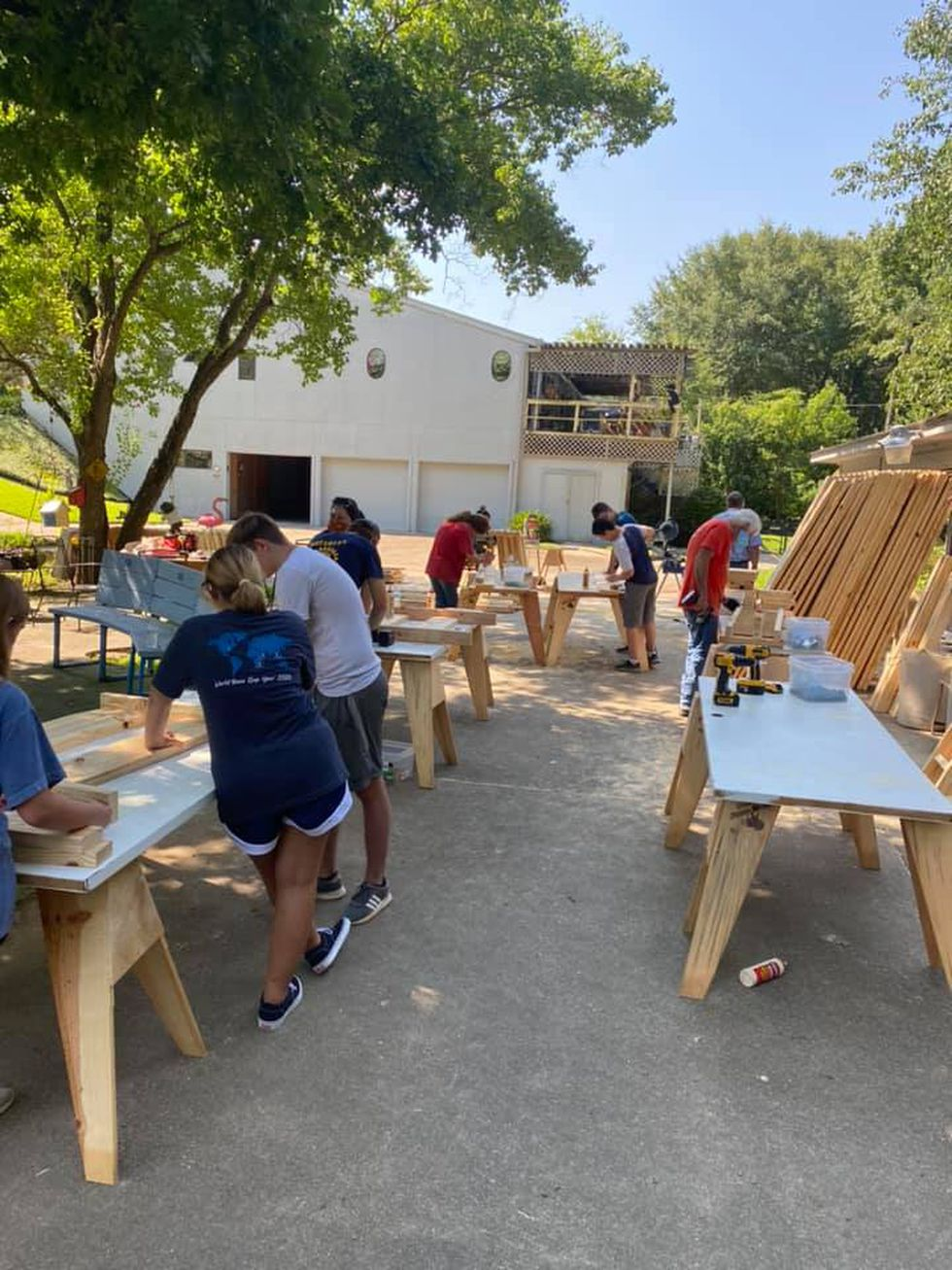Volunteers work on dozens of beds during small August 2020 bed building event.
