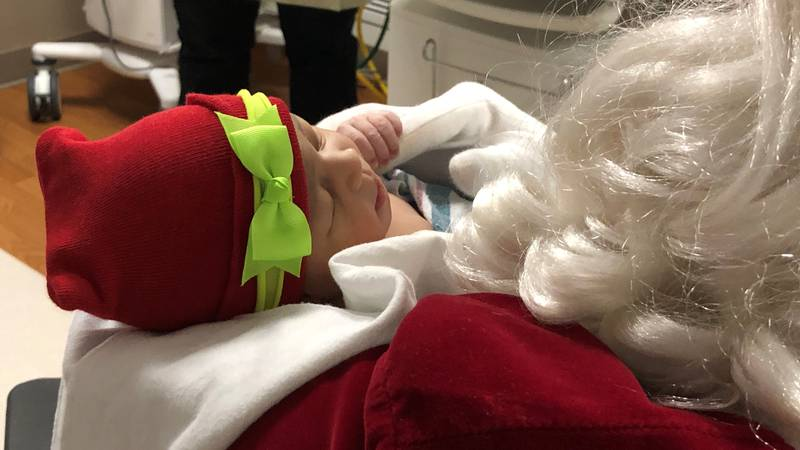 It can be hard on families who have to spend the holidays in the hospital. That's why Santa...