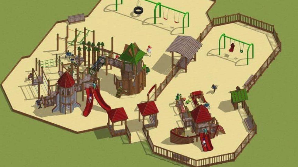 Rendering of the Beckville community playground.