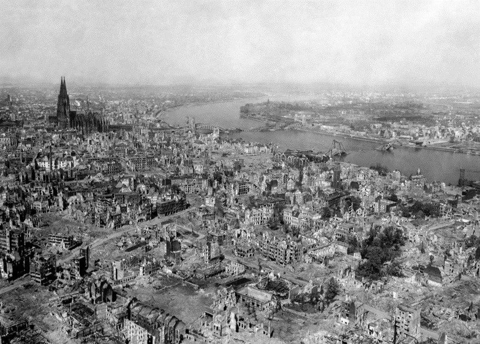During WWII, Allied air raids destroyed much of the city of Cologne, though the cathedral was...