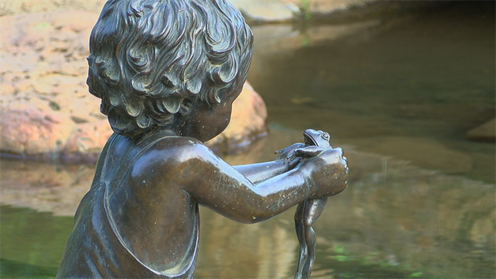 Sculptures and pavers featuring the names of more than 500 children serve as memorials...