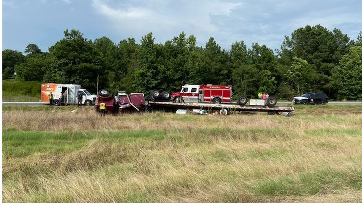 An 18-wheeler rolled on the State Highway 271 exit ramp from Interstate 20 Monday. (Source:...
