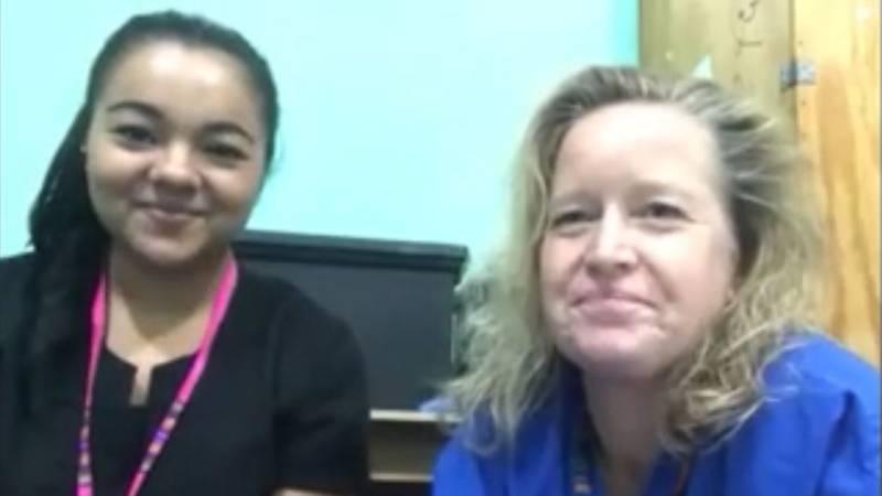 Two Refuge International volunteers spoke with Bob Hallmark on Saturday. (Source: KLTV Staff)