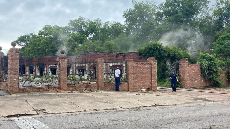 Abandoned strip mall fire