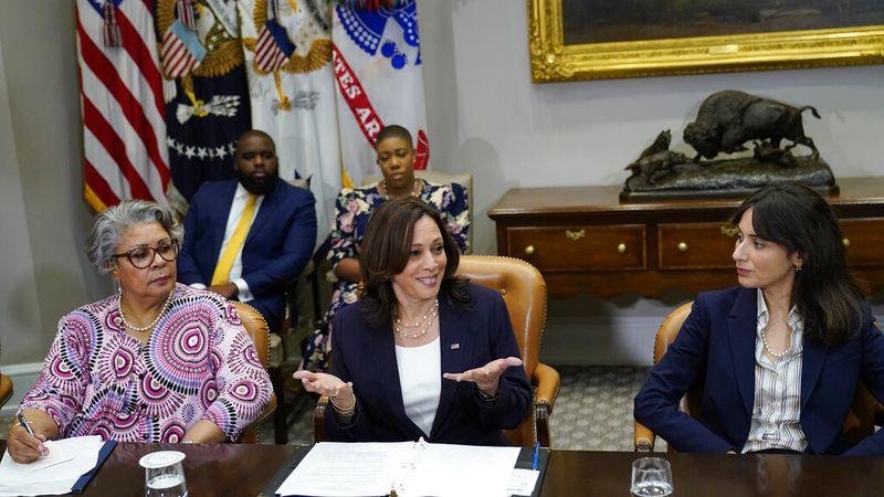 Vice President Kamala Harris, center, flanked by Texas state Rep. Senfronia Thompson,...