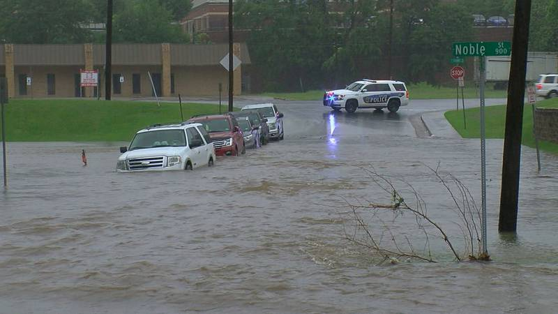Tyler police closed Douglas Blvd off as water covered the street Monday morning.