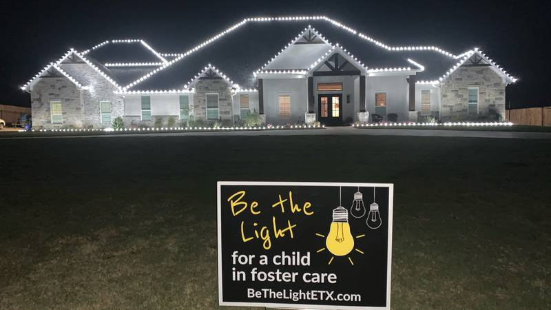 """""""Be the Light"""" sign stands outside fully lit East Texas home to raise awareness about foster..."""