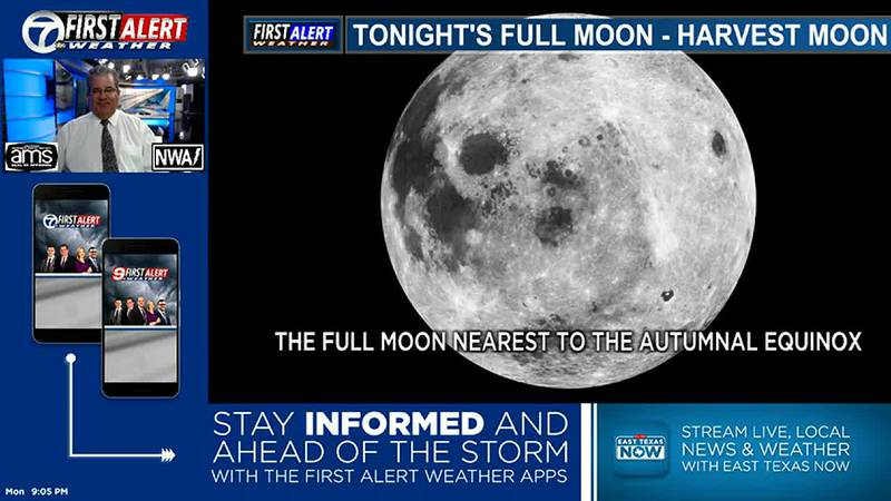 Harvest Moon Tonight. Cold front Tuesday. First Day of Fall on Wednesday.