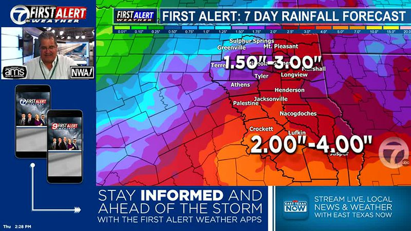 more and more rain expected through the next 7 days, peaking on Sunday. Slowly decreasing...