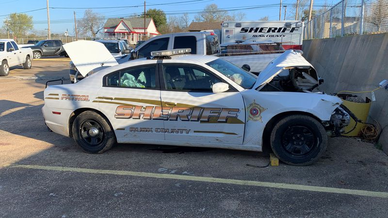 Rusk County Sheriff vehicle damaged in pursuit.
