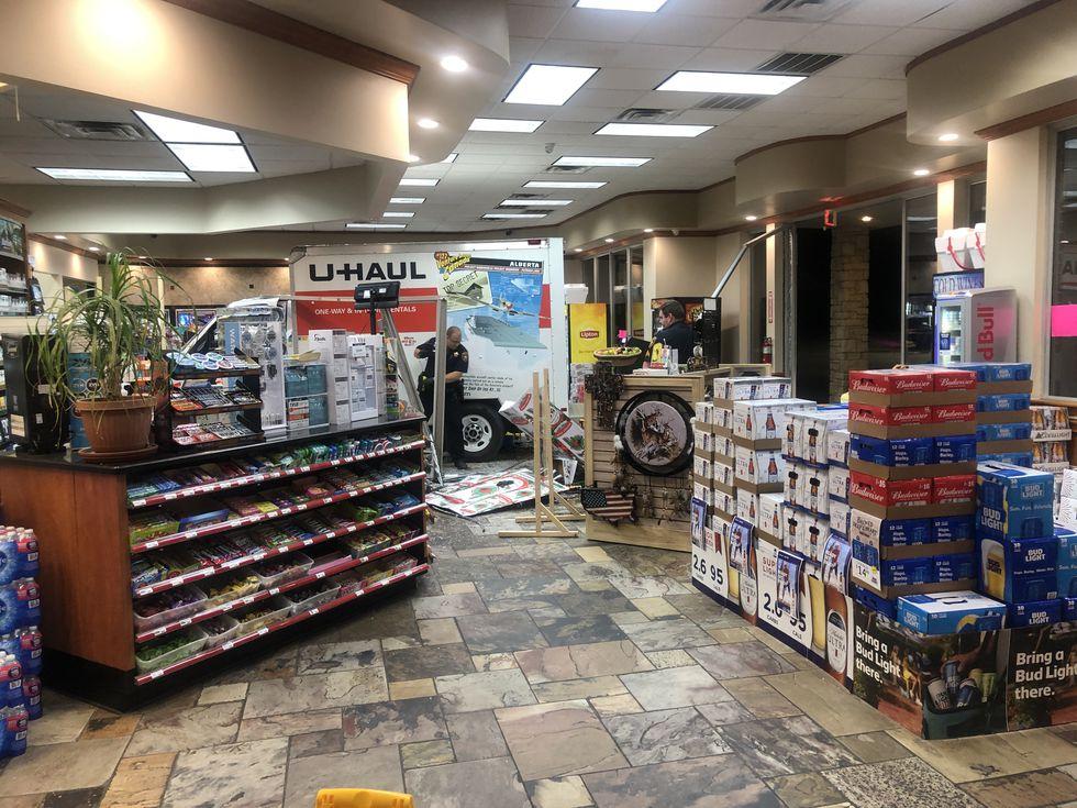 Man plows U-Haul truck through convenience store