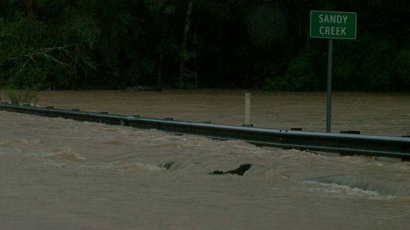 F.M. 777 at Sandy Creek is one of many areas that flooded in Deep East Texas Monday.