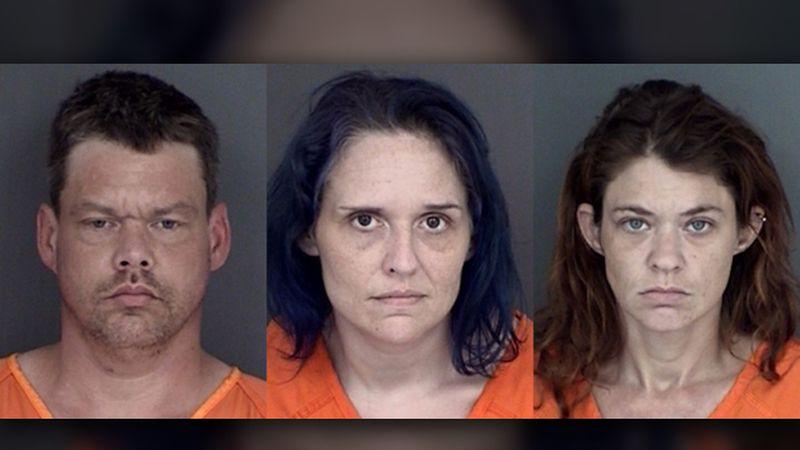 From left, John Paul Hicks, Shanna Hicks Selman, and Rebekah McEntire were all arrested on drug...